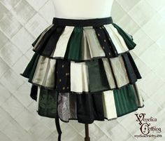 "Steampunk Ruffle Bustle Top Skirt - 3 Layer, Sz. S - Green, Ivory, Silver, and Black Patchwork - Best Fits up to 42"" Waist or Upper Hip"