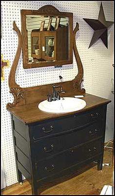 Antique Bathroom Vanity: Antique Dresser with Sink