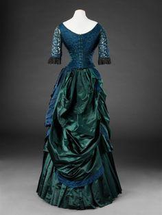 Dress – The John Bright Collection Blue Satin Dress, Satin Dresses, Silk Dress, Lace Skirt, Gowns, 1870s Fashion, Vintage Outfits, Vintage Fashion, Civil War Dress