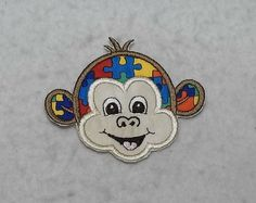 Monkey Face Autism Awareness Puzzle Piece - MADE to ORDER - Choose SIZE - Tutu & Shirt Supplies - fabric Iron on Applique Patch 8131 by TheFabricScene on Etsy
