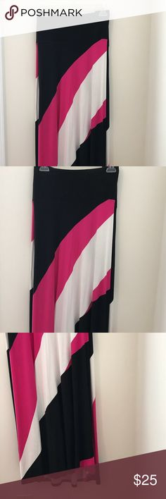 Bold patterned Maxi Skirt just right for you Black, hot pink and white color blocked maxi skirt. Plus size skirt. Beautiful draping. Pattern swishes across skirt on both sides. Slight high low where the back is a bit longer. Super soft. Great with a tan or tee and sandals for your next vacation or brunch. Worn once. No pets no smoking in my home. You'll love it! Lane Bryant Skirts Maxi