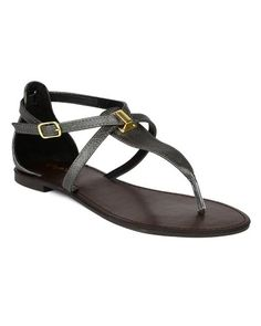 6cecd4cee49 Qupid BK85 Women Embossed Leatherette Shiny Strappy Thong Flat Sandal Grey  Size 10    . Apartamentos Para MujerSandalias PlanasTamaño 10