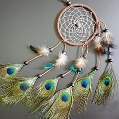 Dream-Catcher-peacock-feather-wall-hanging-decoration-ornament-22-Long