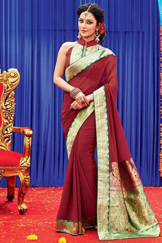 Andaaz Fashion new arrival Maroon Georgette Saree with Dupion Silk Blouse and Designer Pallu with price $60.13. Embellished with Resham work. Sari comes with designer Sleeveless and stylish Band Collar Neck Blouse. This is prefect for Party, Wedding, Festival, Ceremonial. http://www.andaazfashion.us/maroon-georgette-saree-with-dupion-silk-blouse-dmv7964.html