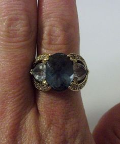 Gold Sterling Silver Ring with Large Blue and Clear by onetime, $14.25
