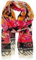 floral wool scarf - mango