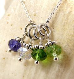 Family Cluster Birthstone Charm Necklace