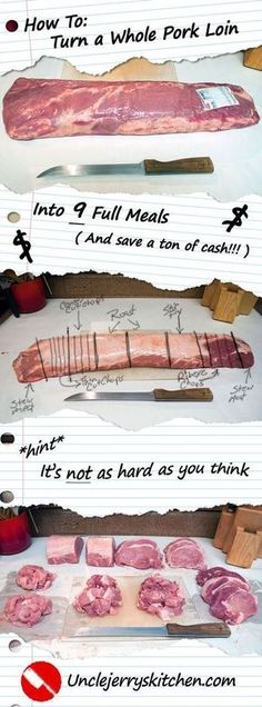 How to Turn a Whole Pork Loin Into 9 Full Meals. Save a Ton of money, and it's easier than it sounds!