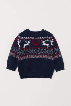 aa6b00b5a H&M Jacquard-knit Sweater - Blue. H&m BabyPulloverBlue SweatersKnitted  FabricKids ...