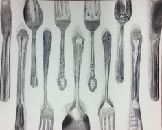Silverware Project  Charcoal