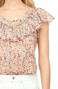 Our Margo Floral Silk Cotton Voile Ruffle Top features bunches of sweet, colorful posies. Sleeves Designs For Dresses, Dress Neck Designs, Blouse Designs, Kurta Neck Design, Designer Party Wear Dresses, Blouse Models, Dressy Tops, Casual Summer Outfits, Blouses For Women