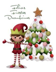 Felices fiestas Decembrinas, duende con árbol de Navidad, tarjeta navideña