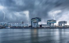Rheinauhafen, lightning, Cologne, promenade, Kranhauz, Rhine River, Germany