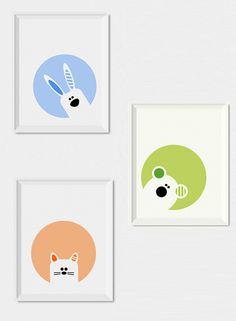 Modern nursery decor, Set of 3 nursery wall art prints - Bunny, bear and cat nursery printables, Animals nursery art