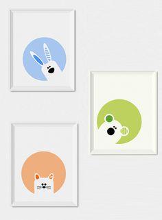 Modern nursery decor, Set of 3 nursery wall art prints - Bunny, bear and cat nursery printables, Animals nursery art