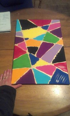 Three step painting **PICTURE SHOWS BEFORE TAPE REMOVAL!**. One- place strips of tape on a canvas Two- paint each section colour of your choice Three- wait to dry and peel off paint   Click on the photo source to see other pin for first steps...#Canvas #Paint #DIY #Homemade #Tape