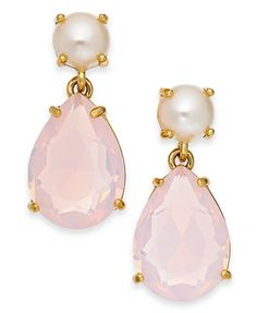 Macy's: kate spade new york Gold-Tone Faux Pearl and Pink Teardrop Stone Earrings
