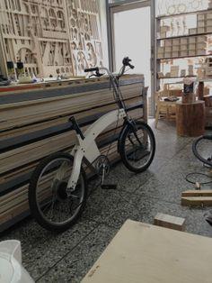 wood frame bike