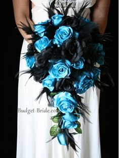 Turquoise and Black Wedding Flowers with feathers