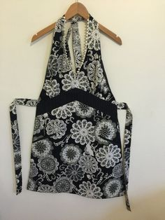 Pier 1 Sexy Black & White Kitchen Apron With Tie Belt Halter Style w/ pockets #Pier1Imports
