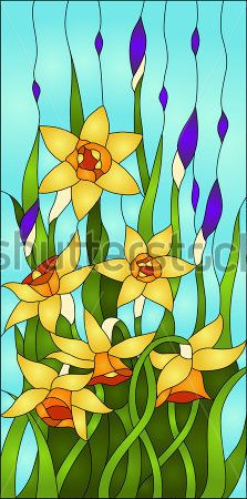 daffodils and iris bud, spring flower love, Symbol of Wales/ Stained glass window Mosaic Flowers, Stained Glass Flowers, Stained Glass Designs, Stained Glass Projects, Stained Glass Patterns, Stained Glass Quilt, Stained Glass Panels, Easy Mosaic, Paper Mosaic