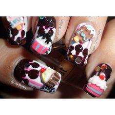 nail polish nails nail art polish cake cupcake candy sweet chocolate hot silver stripws colorful crazy 3d diy easy manicure resins ice cream fuchsia