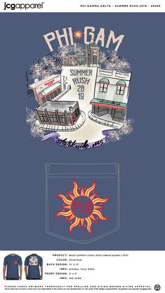 Phi Gamma Delta Summer Recruitment Shirt | Fraternity Summer Recruitment | Greek Summer Recruitment #phigammadelta #phigam #pgd #fiji #summer #recruitment #downtown #sketch #design #sun Recruitment Themes, Custom Design Shirts, Blue Back, Sorority And Fraternity, Greek Clothing, Color Shorts, Blue China, Comfort Colors, Front Design