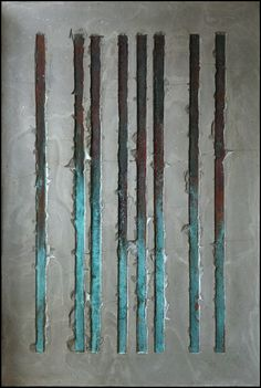 PISS PAINTING. CONCRETE & COPPER ON TIMBER. NAOMI DORAN