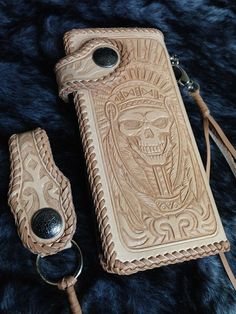 indian Skull biker Long wallet Brown genuine leather handmade motorcycle L03 in Clothing, Shoes & Accessories, Men's Accessories, Wallets | eBay