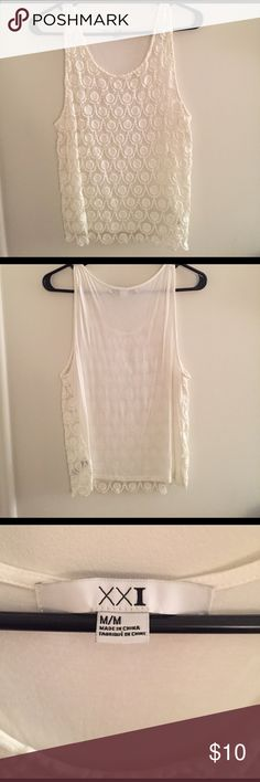 Lace Tank Forever 21 Tank. Front is Lace and see thru, back is Cotton. Great condition, almost new. Forever 21 Tops Tank Tops