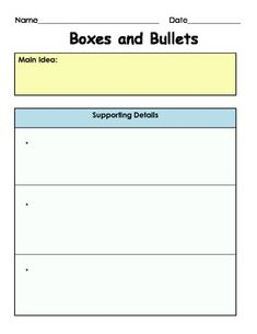 FREE - Main Idea and Supporting Details: Boxes and Bullets - 3 different graphic organizers for the Main Idea and Supporting Details, 6 pages