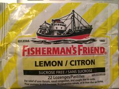 I've been poppin' lozenges for the past week and this is one of the ones I've been consuming. The design on this isn't the most effective mostly because of the brand name. Fisherman's  Friend sounds more like some sort of fish bait rather than something that is going to calm the sickness in your throat. Nothing about the image relates to the purpose of the product unless they're trying to fish out the phlegm inside of me - which in that case is quite the stretch.