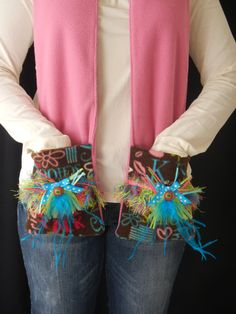 Pink fleece scarf with funky pockets