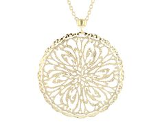 Moda Al Massimo(Tm) 18k Yellow Gold Over Bronze Diamond Cut Filigree Medallion 30 Inch Necklace
