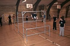 A portable parkour structure that was built with Kee Klamp pipe fittings.