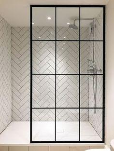 I'm in love with the herringbone tile and the amazing crittall shower screen from Creative Glass Studio in London Modern Bathroom Tile, Mosaic Bathroom, Bathroom Interior Design, Master Bathroom, Mosaic Tiles, Attic Bathroom, Shower Bathroom, Shower Window, White Bathroom