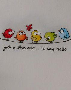 handlettering geburtstagskarte Little bird - draw bird - draw bird - Bird Drawings, Easy Drawings, Happy Paintings, Watercolor Cards, Mail Art, Whimsical Art, Bird Art, Diy Cards, Homemade Cards