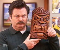 Ron Swanson's Hawaiian God of Anger wall mask
