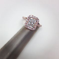 Love this 1.27 ct. radiant diamond in a diamond halo setting in gorgeous 14k rose gold.