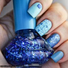 mix and match nail art blue azul