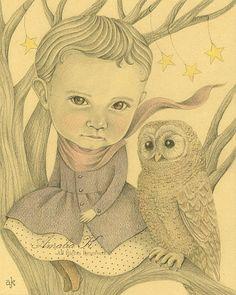 girl and owl by Amalia K