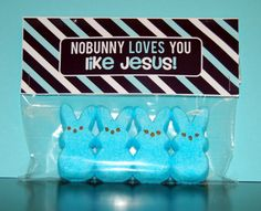 No bunny loves you like Jesus tags.  pink or blue
