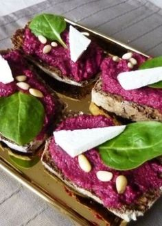 Beetroot Pesto Brushetta - so pretty! Now to test it and see how it tastes.