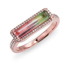 Rose Gold Watermelon Tourmaline Diamond Brick Ring<br /> Ring measures approximately x Pink Gold Rings, Rose Gold Jewelry, Diamond Jewelry, Tourmaline Jewelry, Watermelon Tourmaline, Jewelery, Jewelry Rings, Jewelry Box, Modern Jewelry