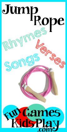 Jump Rope Rhymes, Verses, Songs and Skipping Games