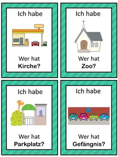 German version of the I have ... Who has ...? game. This German game can be played to practice German town vocabulary. The game has 39 cards with a colorful frame and 39 cards with a simple black frame to save you ink. There are 4 cards per page.