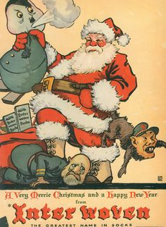 1944 sock ad in Life Magazine. Santa is apparently going to put an end to the war singlehandedly!