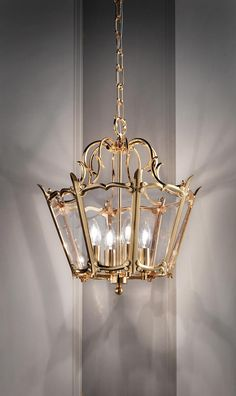Classic Venetian pendant lamp, brass lantern with polished golden finish, 4 candle effect bulbs - Masiero - Pendants Murano Glass, Brass Lantern, Classic Lighting, Wall Lights, Ceiling Lights, Led, Pendant Lamp, Bulbs, Classic Style