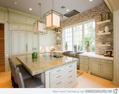 15 Stone Walled Kitchen Designs #Home