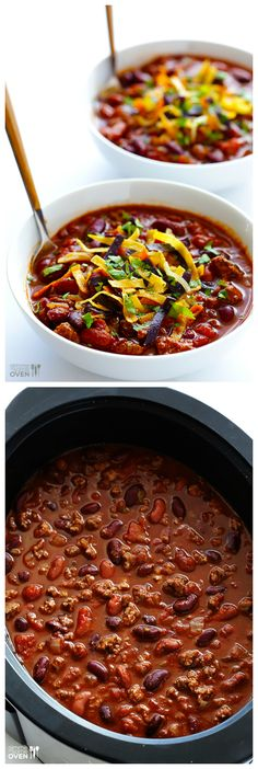 Slow Cooker Chili -- delicious, comforting classic chili made easy in the crock pot | gimmesomeoven.com